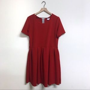 Red Textured Lularoe Amelia Dress 3XL